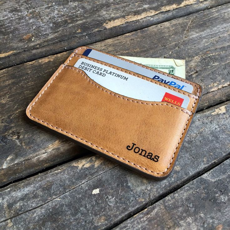Credit Card Holder - Personalized Wallet - Slim Leather Wallet - With Lt Pendleton on it
