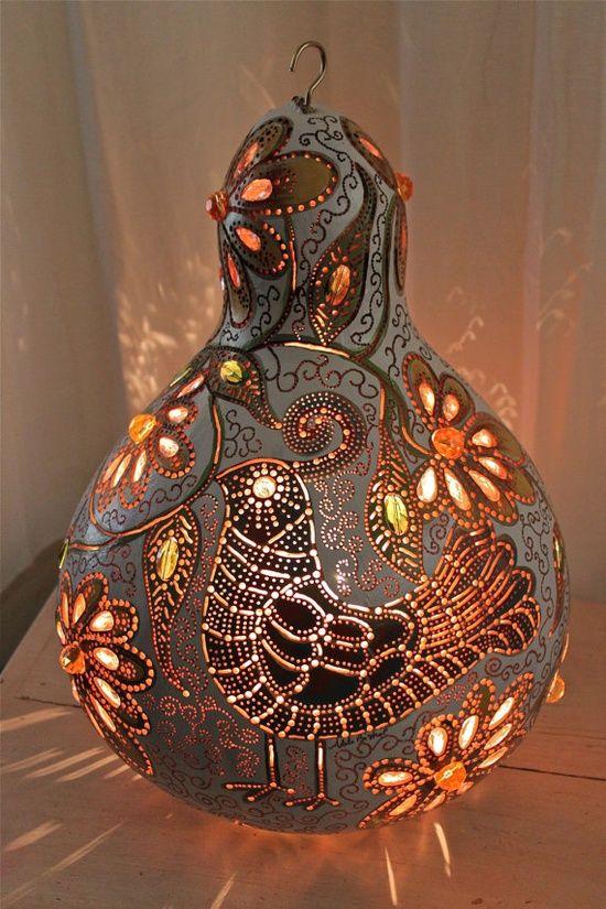 Original, Quail, Wall hanging, Gourd, lamp, glass, beadwork, flowers, white…