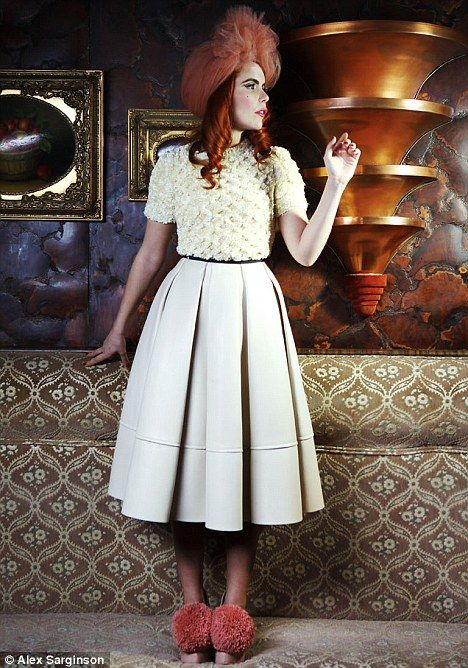 Paloma Faith- twinkle toes / Full midi winter white skirt / hat / winter white sweater