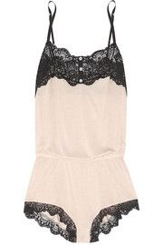 Eberjey Esther lace-trimmed jersey playsuit