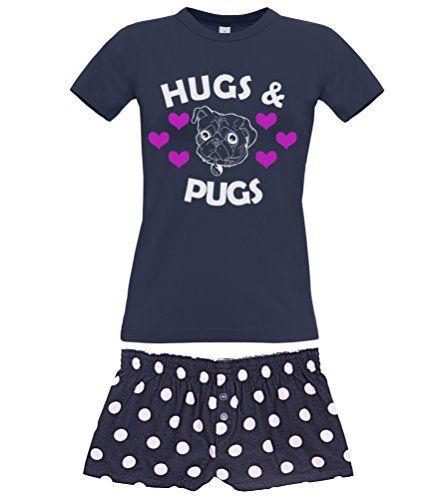 Navy Women's T-Shirt & Navy Polka Dot Shorts Pyjama Set 'HUGS & PUGS'
