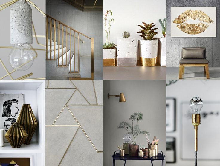 Bright greys and golden accents in Scandinavian interiors #gold #interior #colour