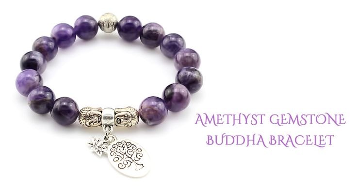 The main focal points of this Amethyst Buddha Bracelet are the two Buddhas, Lotus flower and Tree charms surrounded by gorgeous 12mm Amethyst Gemstones. This bracelet is fully adjustable made with high quality stretch cord.