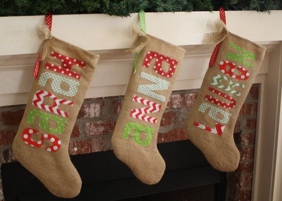 Reserved Listing - Burlap Christmas Stocking - Personalized - Traditional Christmas Colors - fun and funky letters and fabrics - fully lined