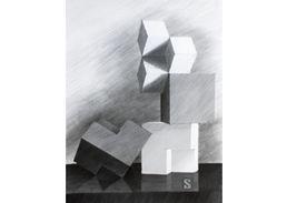 Drawing of cubes - drawing from nature. Rysunek martwej natury z sześcianów. www.kurs-rysunku.com.pl