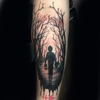 ... style big forearm tattoo of Peter Pan and friends - Tattooimages.biz