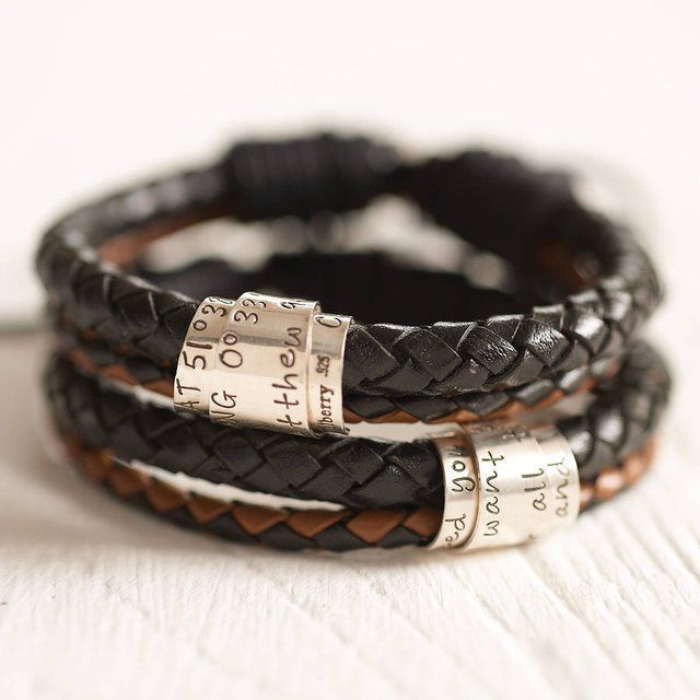 """Personalised Leather Scroll Bracelet - I would write: """"Ma femme a toujours raison"""" on it. @John Searles Searles G."""