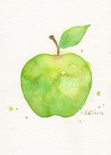Fruit, fruit art print, art, watercolor painting, watercolor art Japanese paper print, watercolor,Green apple----Original watercolor