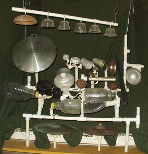 Psst Gene and Julia--a percussion instrument made of found objects