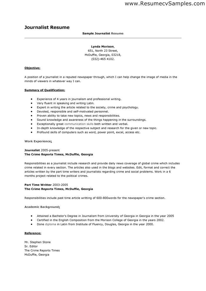 Journalism in 2018 resume examples Pinterest Resume examples
