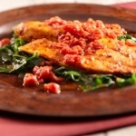Spicy Tilapia with Spinacy - Low Cal; Low Carb; Low Fat!  Good too!
