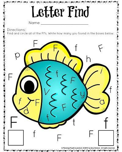 Cute letter find worksheets for preschool and kindergarten.