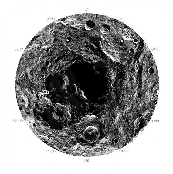 + - Novas fotos da sonda espacial Dawn, que está em órbita do planeta anão Ceres, mostra que seu polo sul é completamente negro. Seria este um buraco que leva à uma região subterrânea de Ceres? E se este for o caso, o que poderia lá existir? Um outro mundo? OVNIs? Formas alienígenas de vida? …