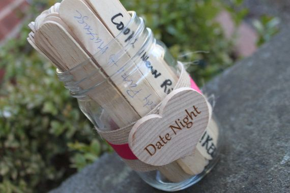 Bridal Shower Game, Date Night Idea Sticks, Advice to the new Bride, Date Night Ideas - 10 Sticks