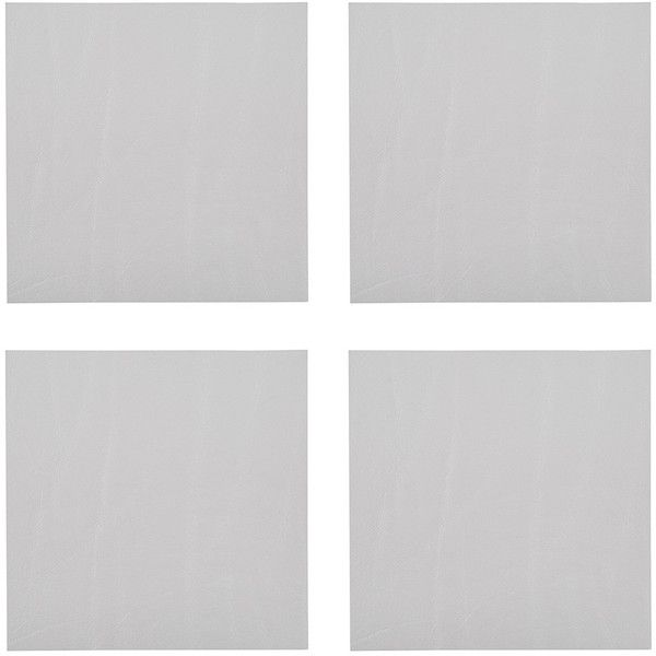 A by Amara Leather Coasters - Set of 4 - Silver (£14) ❤ liked on Polyvore featuring home, kitchen & dining, bar tools, leather coasters, silver drink coasters, leather coaster set, silver coasters and leather drink coasters
