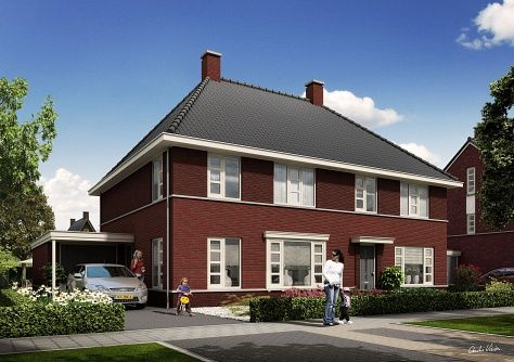 - kleur dak antraciet - donkere bakstenen in combinatie met antraciet kleurige details  - witte kozijnen