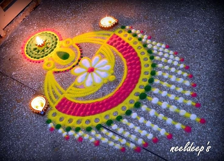 The 25 best rangoli designs ideas on pinterest designs for How to make diwali decorations at home