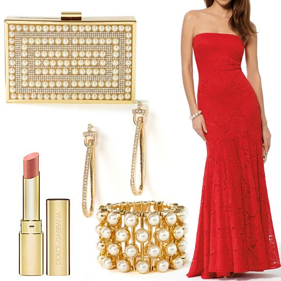 "Red lace dress, clutch, earrings and bracelet from Caché. Lipstick from Dolce & Gabbana in ""True Monica"" #HeadToToeThursday"