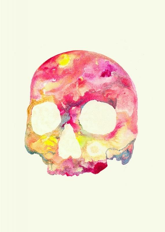 "Fredrik Akum, ""Skull (Pink),"" 31 X 45 cm, acrylics, spray on MDF"