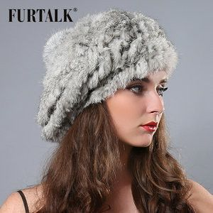 hand knited Flexible natural rabbit fur bobble hat beret Russian winter fur hats for women