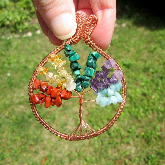 multicolor tree of life pendant amethyst red jasper malachite amazonite citrine gift for her fashion style boho by FloralFantasyDreams on Etsy