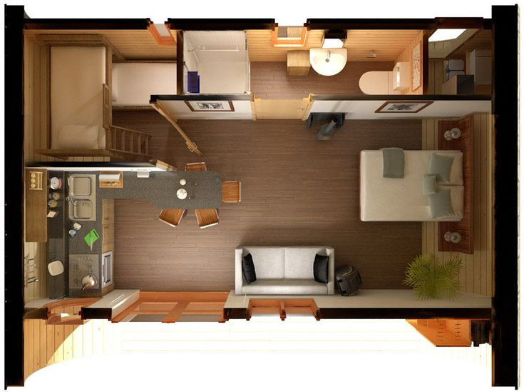 """small house - what a great layout!  I am thinking cabin.  I really like the """"bunk"""" room for kids since they sleep earlier.  This could also be used for storage when the kids are gone!  More room if the big bed was a Murphy bed."""