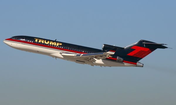 Boeing 727-23 Donald Trump features leather armchairs, gold plated seatbelt buckles, as well as Waterford crystal lamps. The jet is adorned with the Trump logo with 23-carat gold livery and measures some 30 feet in length.