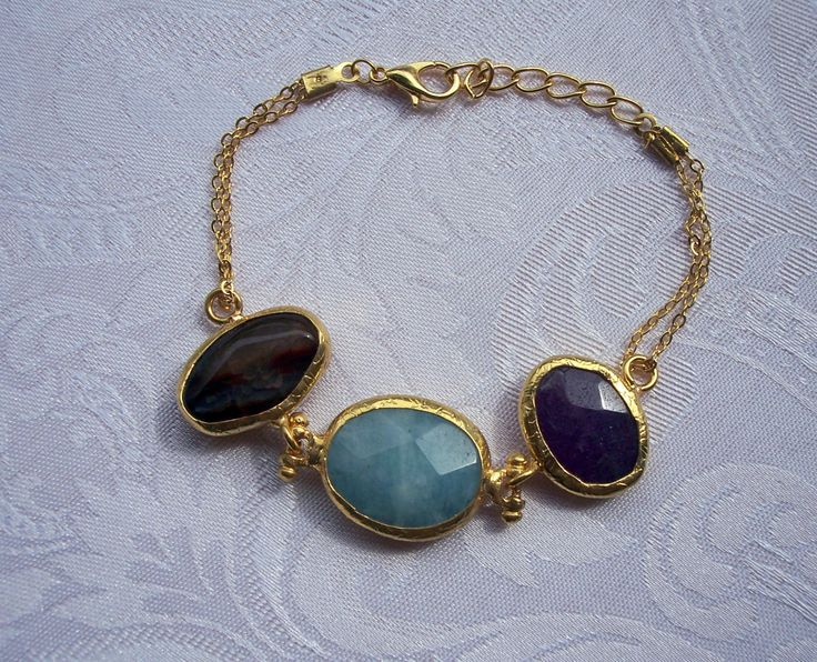 Triple agate bracelet with multishape and multicolur stones. Handmade and gold plated bracelet by GardenOfLinda on Etsy