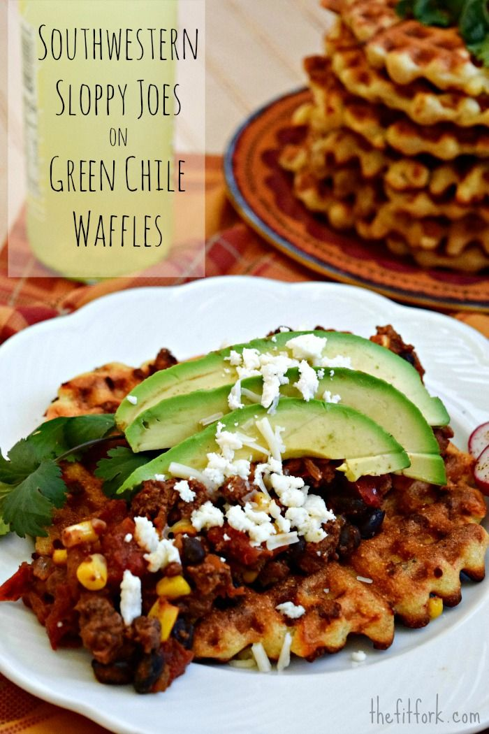 Southwestern Sloppy Joes on Green Chile Cornbread Waffles - a spicy take on breakfast for dinner. Top with avocado, salsa and queso freso - for a holey ole! thefitfork.com