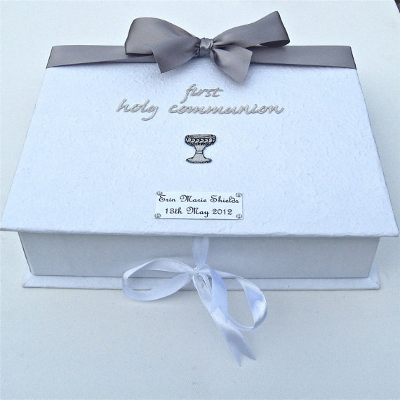 First Holy Communion Personalised Keepsake Box by dottiedesignsxx, £14.95