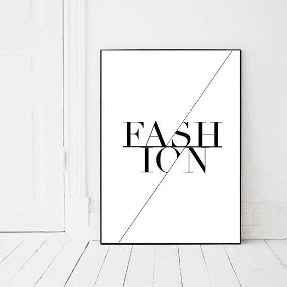 Fashion Poster Fashion Wall Art Black and by PrintsMiuusStudio
