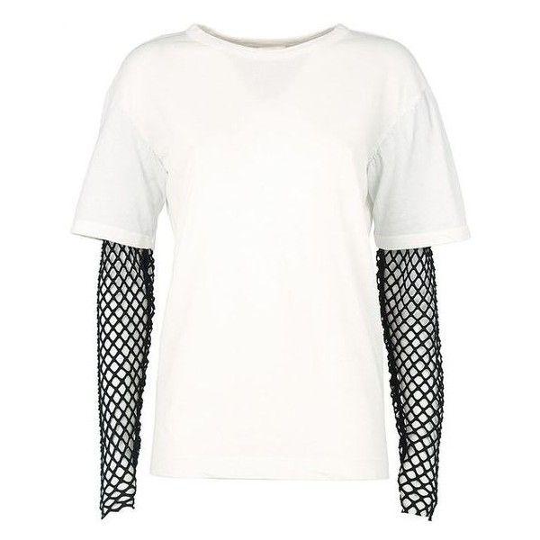 Dries Van Noten Hiar Bis Fishnet-Trim Cotton-Jersey T-Shirt ❤ liked