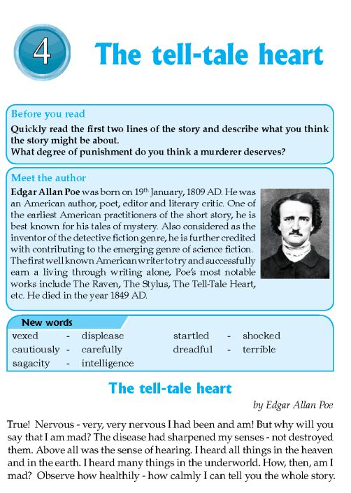 essay on tell tale heart Essay edgar allan poe, whose personal torment so powerfully informed his visionary prose and poetry, is a towering figure in the history of american literature a virginia gentleman and the son of itinerant actors, the heir to great fortune and a disinherited outcast, a university man who had failed to graduate, a soldier brought out of the.