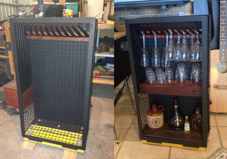 Upcycled bar, painted in matte black, with wine rack and jarrah shelves