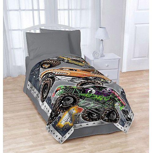Monster Jam Blanket Trucks Grave Digger Cars Boys Bedding