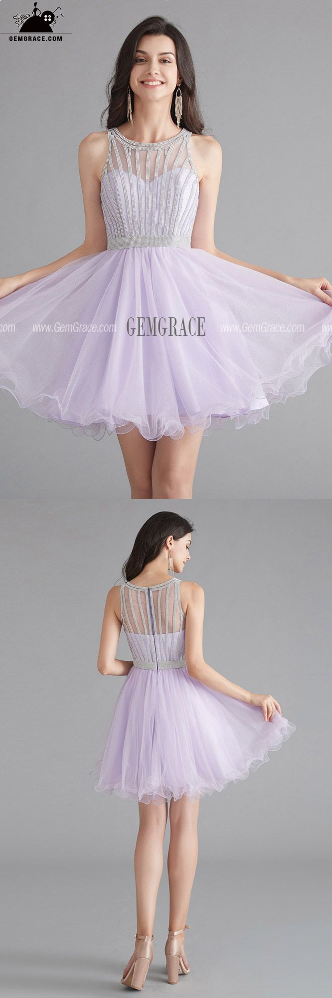 103 89 Lilac Cute Short Tulle Little Party Dress With Beading Top Ezg010 Gemgrace Com Party Dress Bridesmaid Dresses Prom Homecoming Dresses Short [ 2000 x 666 Pixel ]