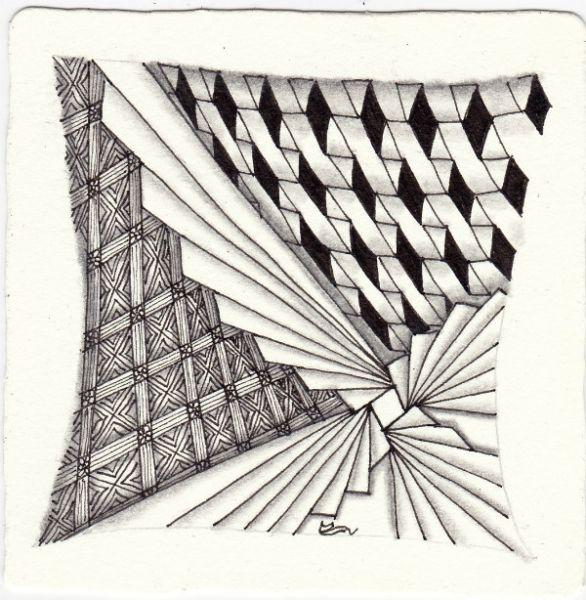 Ein Zentangle aus den Mustern Biscus, Dimyx, Samara, Shimono gezeichnet von Ela Rieger, CZT
