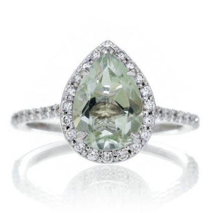 Pear green amethyst ring diamond halo dainty band..  One in purple would also be nice