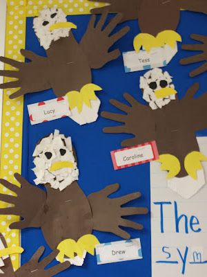 This is a fun craft to incorporate with the American Symbols lesson. Each student can make a bald eagle and put facts about it on the back. The teacher can hang up the eagles on the bulletin board to display the students work! Perhaps making other symbols to add to the board would be beneficial as well.