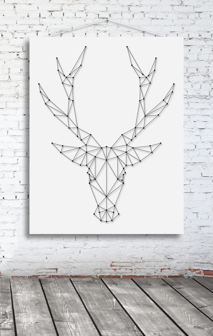 String-art pattern sheet DEER BIG (65 x 50cm) available at spijkerpatroon.nl