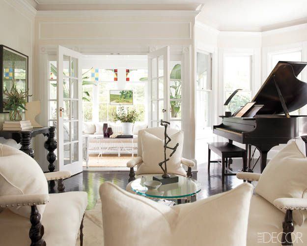 Elle Decor Beautiful Black And White Neutral Living Room Piano RoomSouth Shore DecoratingLiving