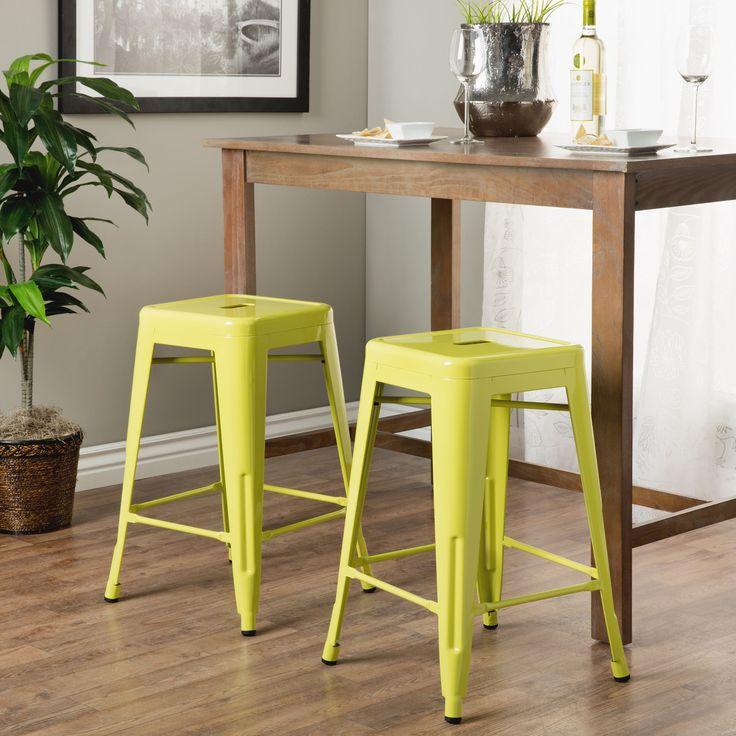 Kitchen Bar Stools Walmart: Tabouret 24-inch Limeade Metal Counter Stools (Set Of 2