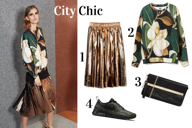 Gold skirt, brand: Weekday - City Chic