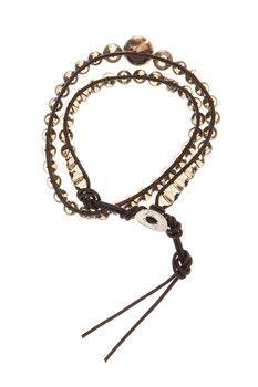 Jean Claude Glass and Skull Bead Wrap Bracelet