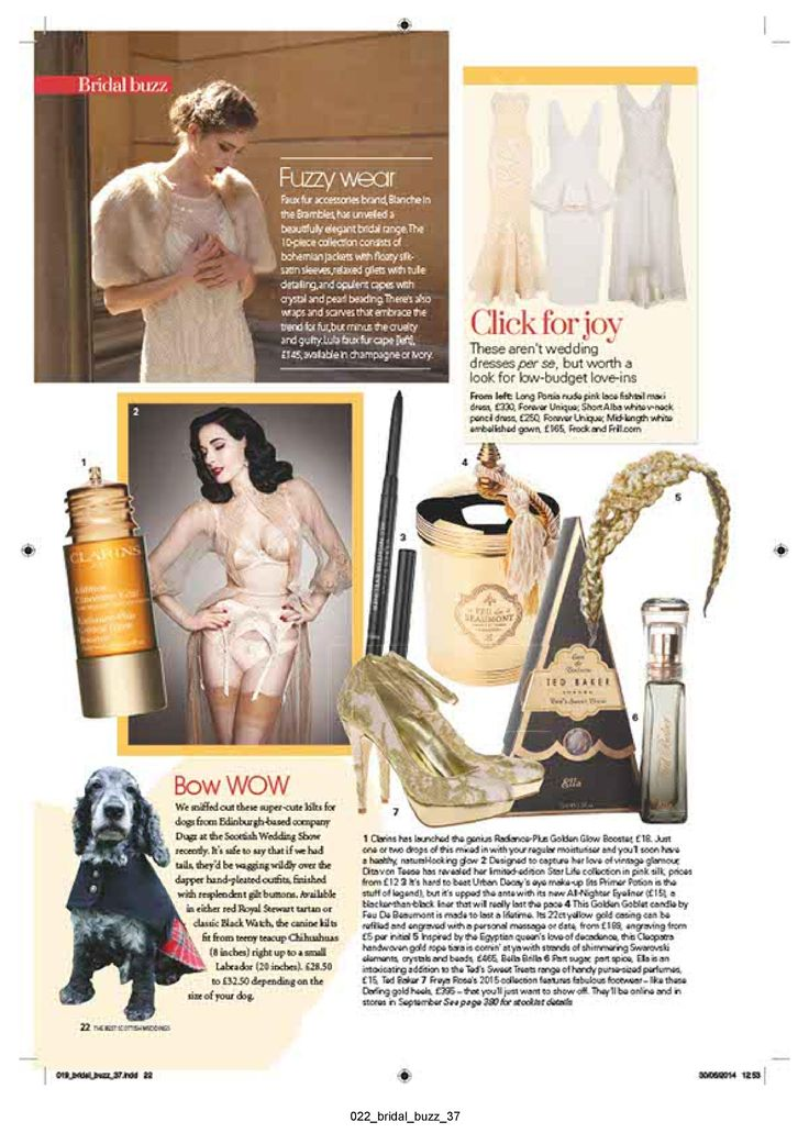 The Best Scottish Weddings Magazine. Fuzzy Wear, by Blanche in the Brambles.  Product featured: Lula in Champagne