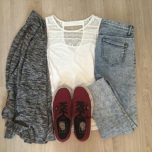 White Top and Denim Jeans with Gray Cardigan and Maroon Vans