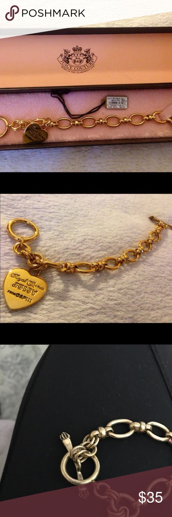 "AUTHENTIC- JUICY COUTURE 8"" •Gold Chain with Heart 8"" •Gold Chain with Heart •Juicy Couture engraved on one side •Royal Couture Juicy from G&P III engraved on one side •Retired G&P piece (Collectable) • Juicy Couture Jewelry Bracelets"