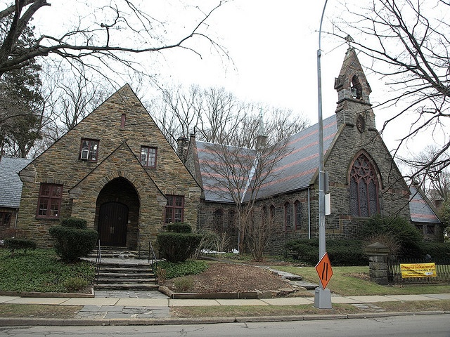 Christ Church, Riverdale, Bronx, New York City. The High Victorian Gothic stone building, erected in 1865-66, was designed by architect Richard Upjohn (added 1983 to the National Register of Historic Places - #83001637).: Gothic Stone, Christ Church, Christian Churches, Stone Works, Photo