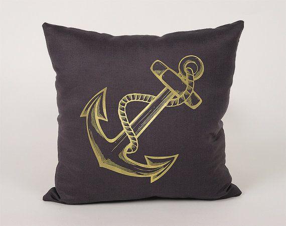 Jangkar Pelaut Cotton Throw Pillow Cover  16x16 18x18 by Daneeyo