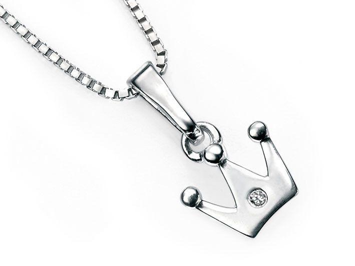 D for Diamond Silver Pendant - Crown